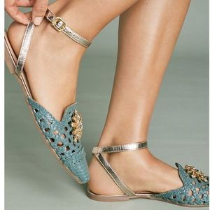 🆕NIB Embellished Teal Woven Leather Flats